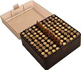 MTM 100 Round Flip-Top Rifle Ammo Box .17, .222, 223, 6x47, .222 Mag (Clear Smoke/Black)