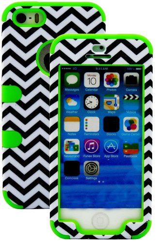 Mylife (Tm) Spring Green And Black - Chevron Series (Neo Hypergrip Flex Gel) 3 Piece Case For Iphone 5/5S (5G) 5Th Generation Itouch Smartphone By Apple (External 2 Piece Fitted On Hard Rubberized Plates + Internal Soft Silicone Easy Grip Bumper Gel + Lif