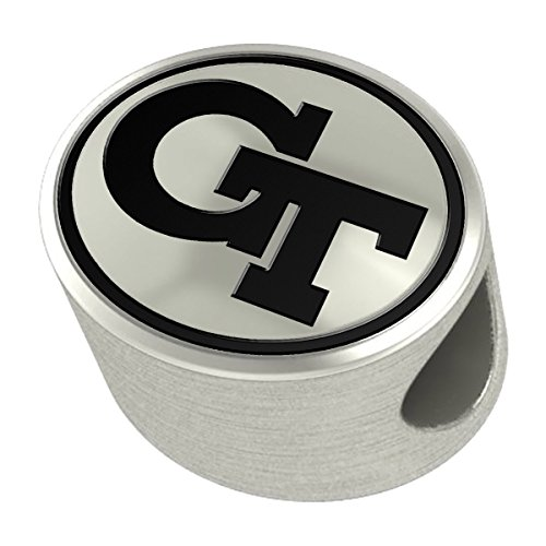 Georgia Tech Yellow Jackets Silver Antiqued Bead Fits Most European Style Charm Bracelets