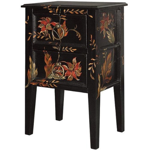Midnight Lily Night Stand Black Accent Side Table Floral Solid Wood New