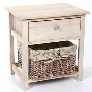 table de nuit table de chevet beige en bois avec 1 tiroir de rangement 1 panier faisant office. Black Bedroom Furniture Sets. Home Design Ideas