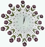 Lulu Decor, Flower Burst Wall Clock, Size 24 , Perfect for Housewarming Gifts (Lines)
