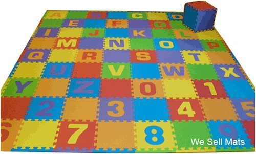 "Uppercase 84 Sq. Ft. 'We Sell Mats' Alphabet and Number Floor Puzzle-Each Tile 12""x12""x3/8"" Thick with Borders plus 48 plain tiles."
