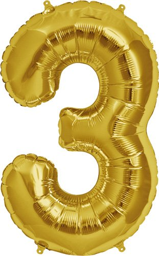 Number 3 - Gold Helium Foil Balloon - 34 inch