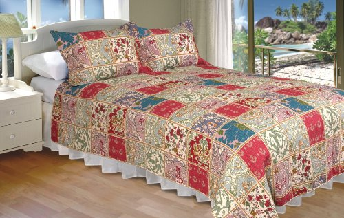 [Foral Waffle Grid] 100% Cotton 2PC Classic Floral Vermicelli-Quilted Quilt Set (Twin Size)