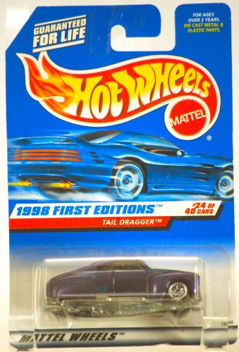 1998 - Mattel / Hot Wheels - Tail Dragger - Purple - 1998 First Editions : #24 of 40 Cars - 1:64 Scale Die Cast Metal - MOC - OOP - Limited Edition - Collectible