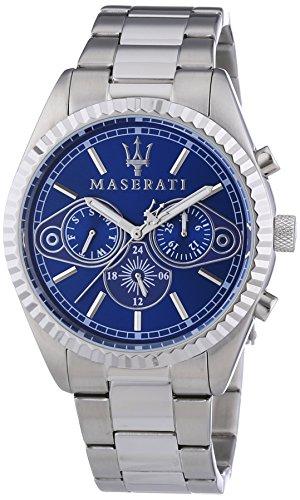 Maserati  0 - Reloj de cuarzo para hombre, con correa de acero inoxidable, color plateado