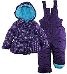 Pink Platinum Baby Girls\' Dot Printed Snowsuit, Purple, 24 Months