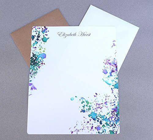 Contemporary Purple & Green Watercolor Splash Personalized Stationery Set, Custom Women's Stationary, Monogram Writing Paper Set, Girl's Monogrammed Correspondence Kit (Personalized Writing Paper compare prices)
