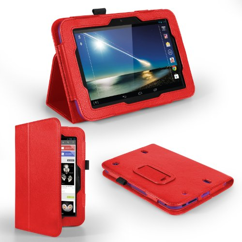 Yousave Hudl Case Red Pu Leather Stand Cover
