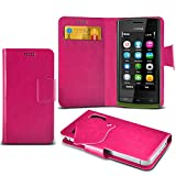 (Hot Pink) Nokia 500 Super Thin PU Leather Suction Pad Wallet Case Cover Skin With Credit/Debit Card Slots By Fone-Case
