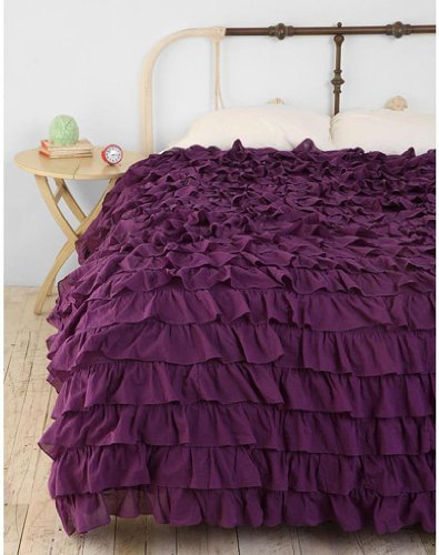 400Tc Solid Purple King Ruffle Duvet Set 100% Egyptian Cotton front-965937