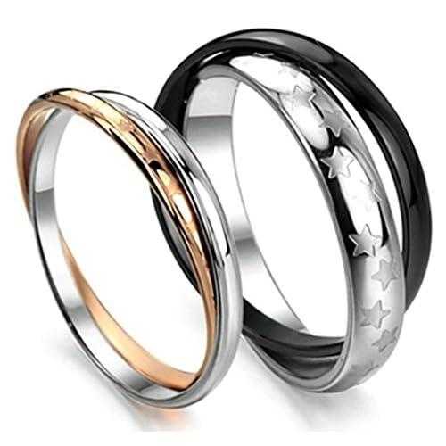 (キチシュウ)Aooazジュエリー カップルステンレスリング指輪 メンズ 二連のデザイン 幸運の五芒星 シルバー、ブラック 高品質のアクセサリー 日本サイズ24号(USサイズ11号)