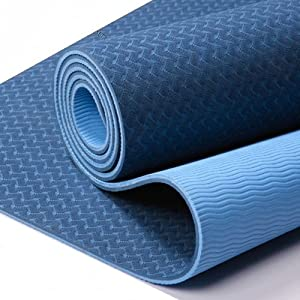 Buy #1 PRO FloAthletika PREMIUM Yoga Mat in Midnight Blue (Best Yoga Mat on the Market) - Extra Thick 1 4 inch Two Color,... by FloAthletika
