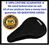 "Premium Bike Gel Seat Cushion Cover 10.5""x7"" Domain Cycling - Most Comfortable Bicycle Saddle Pad for Spin Class or Outdoor Biking"