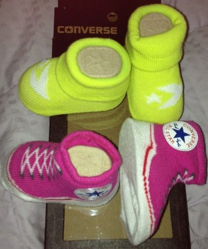 Converse Infant Baby Booties Socks, Pink & Neon Yellow, 0-6 Month, 2 Pairs.