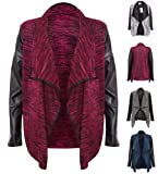 New Ladies PVC Faux Leather Long Sleeve Waterfall Open Cardigan Womens Top 8-14