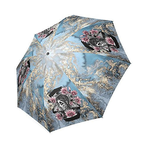 Muertos Sugar Skull Rain Wind Resistant Foldable Umbrella
