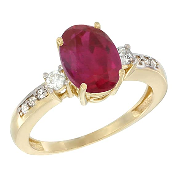 14ct Yellow Gold Natural High Quality Ruby Ring Oval 9x7 mm Diamond Accent, sizes J - T