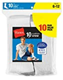 Hanes Men's 10-Pack Cushion Crew Socks,White,Shoe Size 6-12 thumbnail