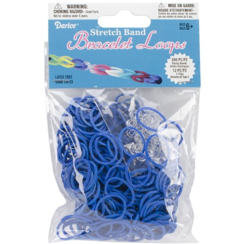 Darice 312-Piece Stretch Band Bracelet Loops and S-Clips Set, Royal Blue