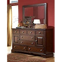 Warm Cherry Wilshire Bedroom Dresser and Mirror by Homelegance Furniture
