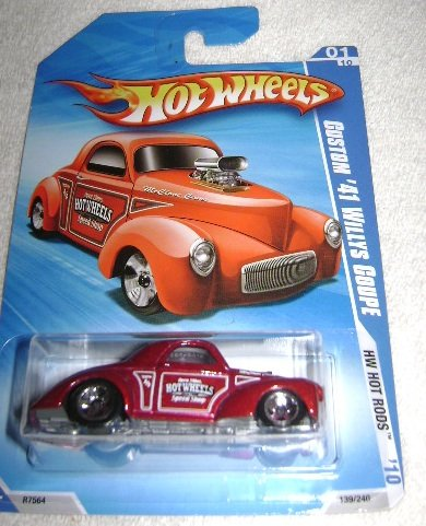 Hot Wheels Metallic Red Custom '41 Willys Coupe with Hot Wheels Speed Shop - #01 of 2010 HW Hot Rods Series - 1