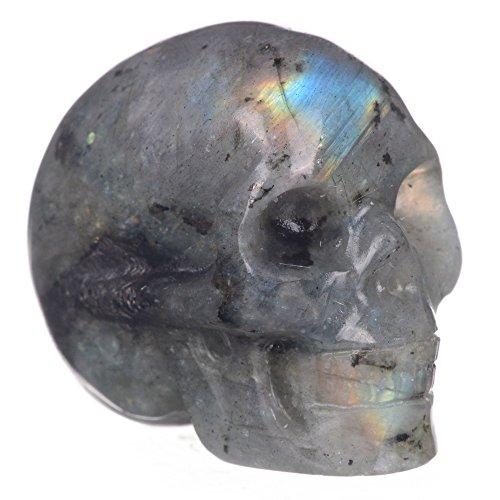 "Mineralbiz 1.3""-1.5"" Natural Labradorite Hand Carved Crystal Skull Gemstone Human Skull Head Carving Healing Reiki"
