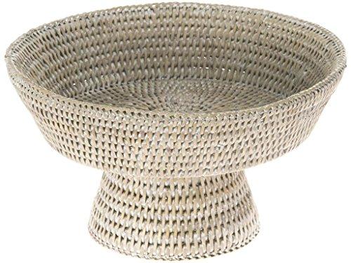 KOUBOO La Jolla Pedestal Rattan Fruit Bowl, White Wash (Centerpiece Pedestal Bowl compare prices)