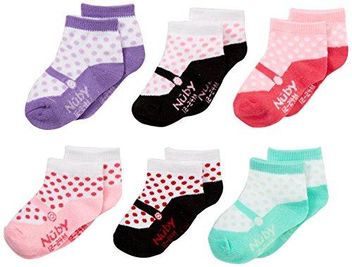 Nuby Baby Girl Infant/Newborn 6-Pack Ballet Slipper Novelty Socks, 12-24 Months, Assorted