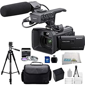 Sony HXR-NX30U Palm Size NXCAM HD Camcorder with Projector & 96GB HDD with 3 Piece Multi-Coated Filter Kit (UV-CPL-FLD), 16GB SD Memory Card, USB High Speed Memory Card Reader, Extended Life Replacement NP-FV100 Battery, PRO 70 inch Tripod, Carrying Case