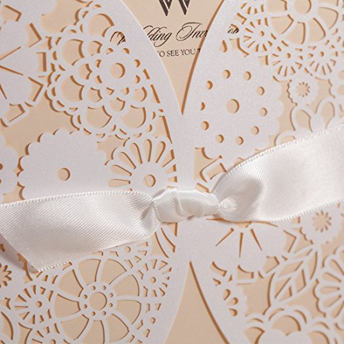 Wishmade 50x Laser Cut Trifold Lace Sleeve Wedding Invitations Cards Kits for Wedding Engagement Bridal Shower Baby Shower Birthday Quinceanera Graduation Paper with Bow(set of 50pcs) 4
