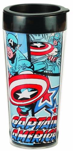 Vandor 26651 Marvel Captain America 16 Oz Plastic Travel Mug, Red, White, And Blue