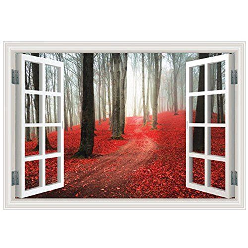 Boodecal Autumn Red Falling Maple Leaf 3d Window View Nature Peel and Stick Wall Stickers for Bedroom 32*22 Inches