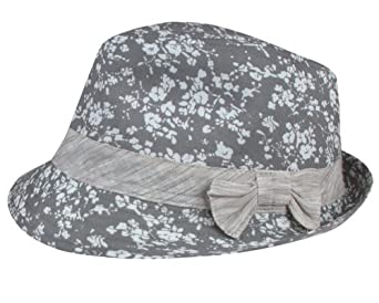 Capelli New York Abstract Tonal Floral Trilby With Brushed Stripe Band And Bow Grey Combo