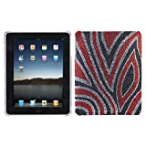 Apple iPAD i-Pad 3G, Wifi Model 16GB 32GB 64GB Tablet Slate Full Diamond Crystals Bling Back Protective Case Cover Black with Red and Silver Jungle Fever Design