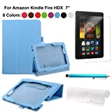 Foxnovo® 4 in 1 PU Flip Case Screen Guard Stylus Pen Cloth Set for Amazon Kindle Fire HDX 7 inch Tablet PC (Sky blue)