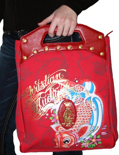 9224e6cd08c7 CHRISTIAN AUDIGIER Ed Hardy Signature Platinum Koi Fish Foldover Satchel Handbag  Purse Bag Ruby Red