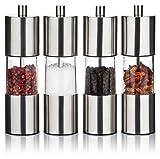 Gewürzmühlen Set 4er Gewürzmühle mit Keramikmahlwerk aus Edelstahl, Salzmühle Pfeffermühle, stufenlos einstellbar, manuell