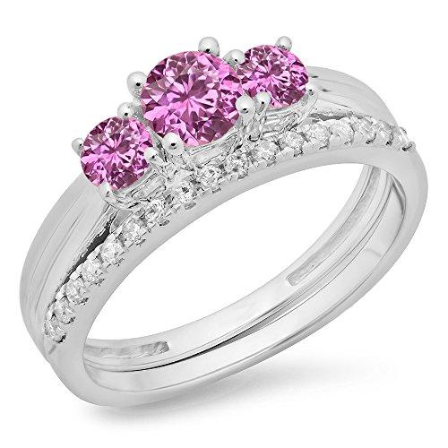 1.00 Carat (Ctw) 14K White Gold Pink Sapphire & White Diamond 3 Stone Bridal Ring Set 1 Ct (Size 6)