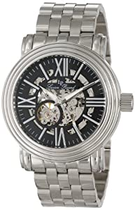 Lucien Piccard Men's LP-11912-11 Black Skeleton Dial Stainless Steel Automatic Watch