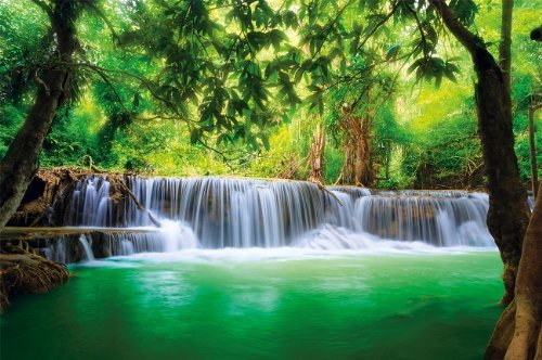 Poster Waterfall Feng Shui Wall Picture Decoration Nature Jungle Scenery Paradise Vacation Thailand Asia Wellness Spa Relax wall decor by GREAT ART (55 Inch x 39.4 Inch/140 cm x 100 cm) (Wall Decor Nature compare prices)