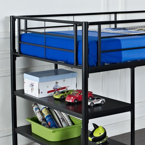 We furniture twin low loft metal bed black beds for Low bed frames for lofts