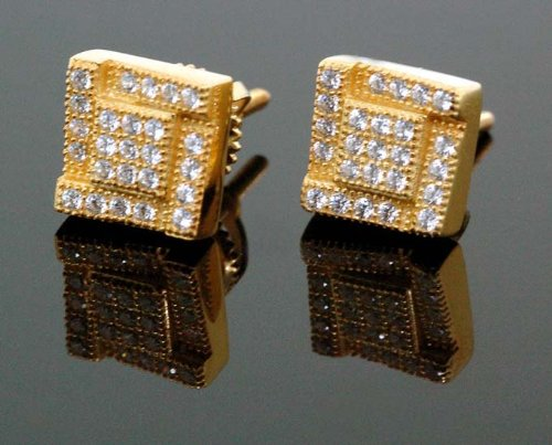 .925 Sterling Silver Yellow Square Black Onyx Crystal Micro Pave Unisex Mens Stud Earrings