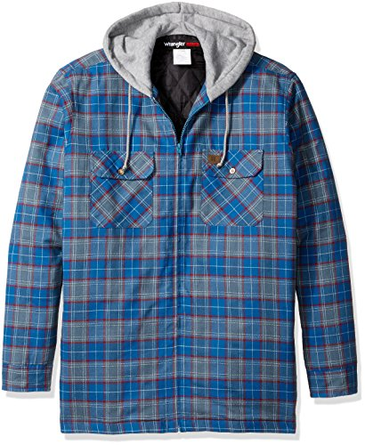 Wrangler RIGGS WORKWEAR Men's Big and Tall Hooded Flannel Jacket, Medium Blue, 4X (Riggs Hooded Flannel Jacket compare prices)