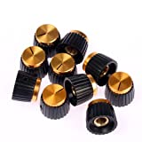 Vics 10 Pack Gold Cap Amplifier Knobs for MARSHALL Amp JCM 800 900 Screw Set