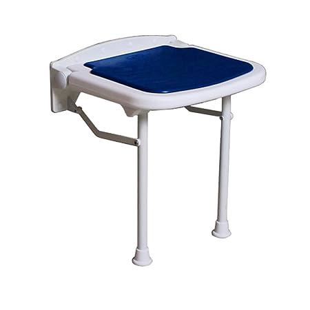 Taburete plegable de pared para ducha Taburete para silla de ducha montada en la pared Taburete plegable para silla para ancianos / discapacitados Silla antideslizante con piernas Taburete en azul Max. 250kg (3 tamaños) ( Tamaño : 47.5cm )