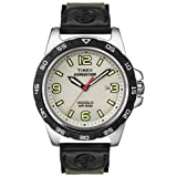 Timex T49884 Men's Expedition Rugged Metal Natural White Dial Green & Black Nylon Strap Analog Watch
