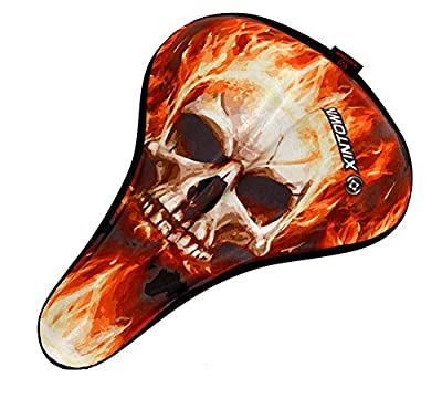 Skull Most Comfortable Exercise Bike Gel Seat Cover [SOFT CUSHION] - Anti-Skid Orange (XINTOWN-Skull Orange)