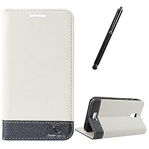 DMG Lenovo S660 Flip Cover, DMG PRaiders Premium Magnetic Wallet Stand Cover Case for Lenovo S660 (White) + Touch Screen Stylus